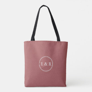 Dusty Cedar Brown with White Wedding Detail Tote Bag