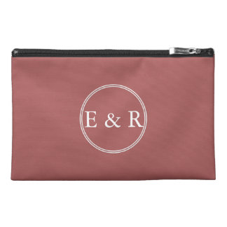 Dusty Cedar Brown with White Wedding Detail Travel Accessory Bags