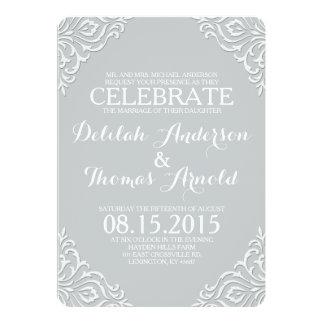 Dusty Damask Filigree Elegant Wedding Invitation