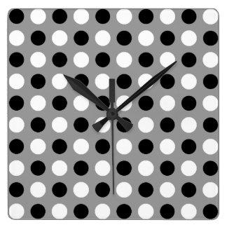 Dusty Grey Polka Dots Square Wall Clock
