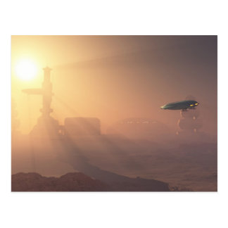 Dusty Landing on Mars Colony Postcard