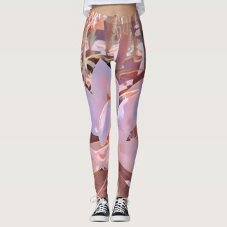 Dusty pinK and brown giant magnolia Leggings