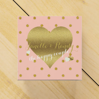 Dusty Pink And Gold Polka Dots Party Favor Boxes