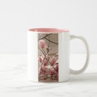 dusty pink blooms 007 Two-Tone coffee mug
