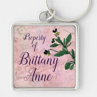 Dusty Pink Botanical Vintage Viola Keychain