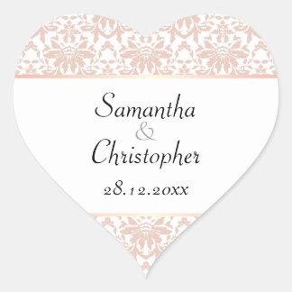 Dusty Pink Chandelier Damask on White Wedding Heart Sticker