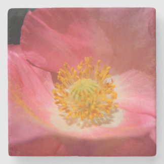 Dusty Pink Colored Poppy Stone Coaster