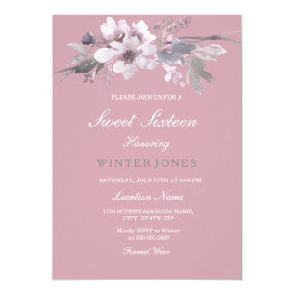 Dusty Pink Elegant Floral Sweet 16 Invite