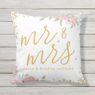 Dusty Pink Gold Floral Garden Mr. and Mrs. Wedding Throw Pillow
