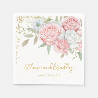 Dusty Pink Gold Floral Rustic Garden Wedding Paper Napkins