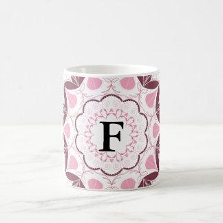 Dusty Pink Mandala Print Customisable Initial Coffee Mug