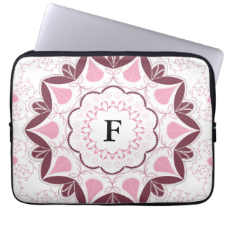 Dusty Pink Mandala Print Customisable Initial Laptop Computer Sleeve