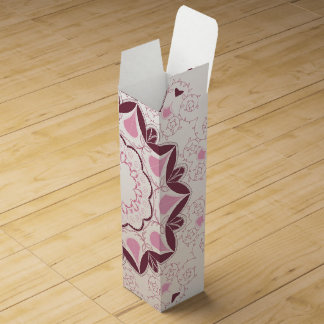 Dusty Pink Mandala Print Customisable Initial Wine Gift Box