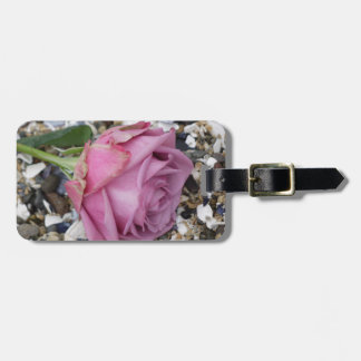 Dusty Pink Rose on Broken Seashells Luggage Tag