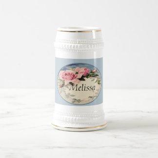 Dusty Pink Vintage Rose Leaf Wreath Monogram 18 Oz Beer Stein