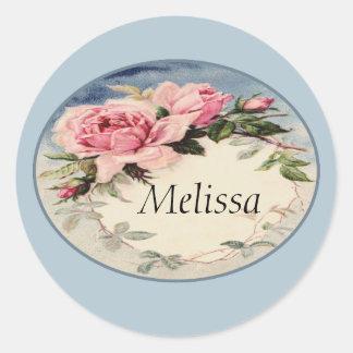 Dusty Pink Vintage Rose Leaf Wreath Monogram Classic Round Sticker