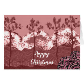 Dusty Pink Winter Scene at Christmas Card