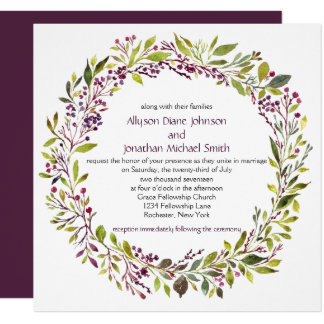 Dusty Purple Berries Greenery Wreath Wedding | Card