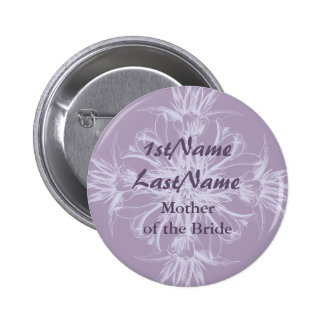 Dusty Purple Vintage Floral Wedding Pinback Buttons