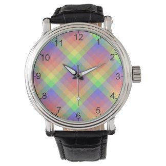 Dusty Rainbow Plaid Black Leather Watch