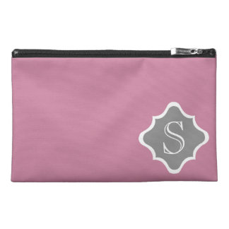 Dusty Rose and Dove Grey Quatrefoil Monogram Travel Accessory Bag