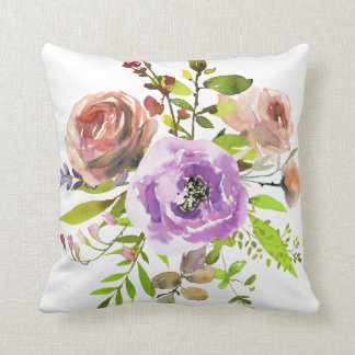 Dusty rose and lilac watercolor peony roses throw pillow