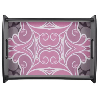 Dusty Rose And Pink Modern Scrolling Pattern Serving Tray