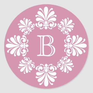 Dusty Rose and White Scroll Wreath Monogram Classic Round Sticker