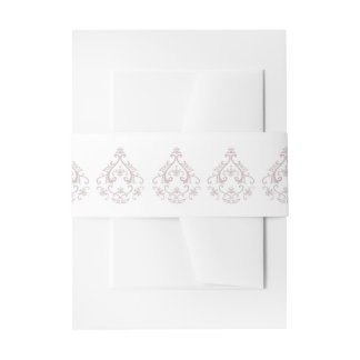 Dusty Rose Damask Invitation Belly Bands Invitation Belly Band