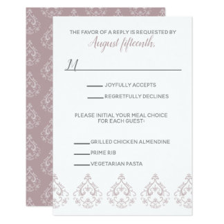Dusty Rose Damask RSVP card with meal selection