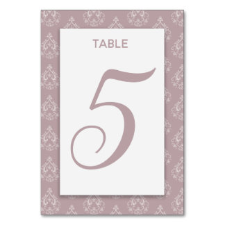 Dusty Rose Damask Table Card