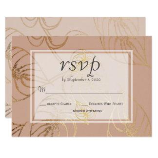 Dusty Rose Exotic Gold Floral Wedding RSVP Card