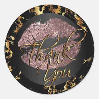 Dusty Rose Glitter Lipstick - Thank You Classic Round Sticker