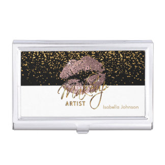 Dusty Rose Glitter on Black and White Business Card Holder