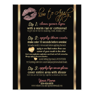 Dusty Rose Gold Glitter Lip Instructions Flyer