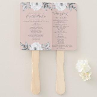 Dusty Rose Gray Floral Diamond Wedding Program Hand Fan