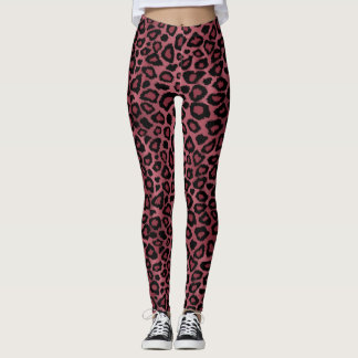 Dusty Rose Leopard Animal Print Leggings