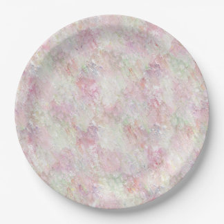 Dusty Rose Pastel Green Watercolor Paper Plates 9""