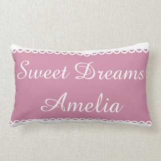 Dusty Rose Personalized With White Ribbons Lumbar Pillow