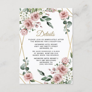 Dusty Rose Pink and Gold Floral Greenery Wedding Enclosure Card