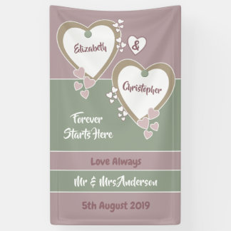 Dusty Rose Pink and Green Wedding Backdrop Banner