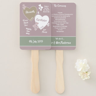Dusty rose pink and green Wedding Hand Fan