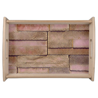 Dusty Rose Tan Stacked Bricks Serving Tray