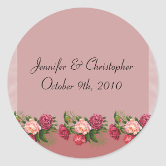 Dusty Rose Wedding Classic Round Sticker