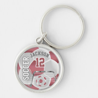 Dusty Rose & White Team Soccer Ball Keychain