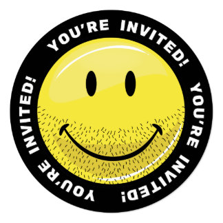 "Dusty Ruff Bearded Smiley Face 5.25"" Square Invitation Card"
