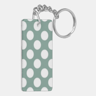 Dusty Sage Green and White Polka Dot Pattern Double-Sided Rectangular Acrylic Keychain
