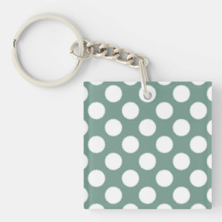 Dusty Sage Green and White Polka Dot Pattern Double-Sided Square Acrylic Keychain