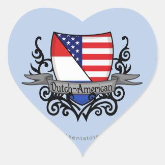 Dutch-American Shield Flag Heart Sticker