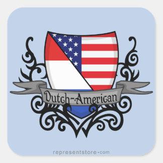 Dutch-American Shield Flag Square Sticker